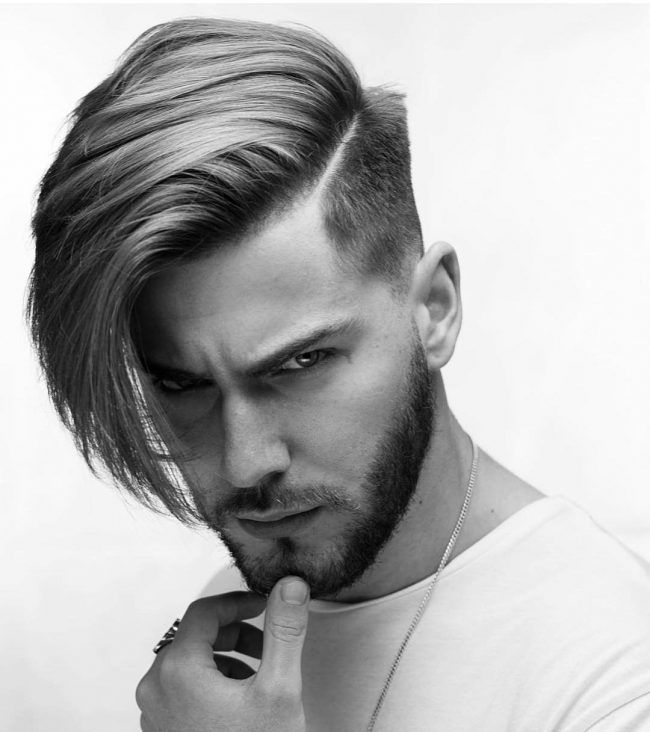 Long Side Swept Hairstyle And Haircut For Long Hair Mens Hairstyles Undercut Side Swept Hairstyles Long Hair Styles Men