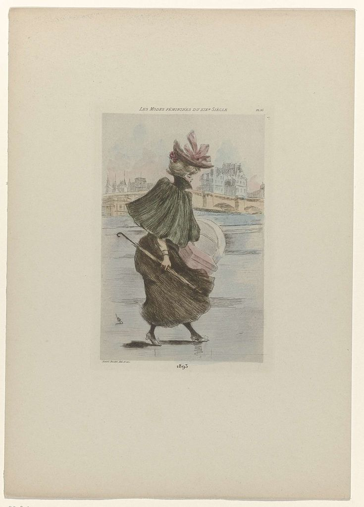 Henri Boutet   Les Modes Féminines du XIXe Siècle, 1893, Pl. 93, Henri Boutet, 1893   Vrouw, lopend naar rechts, met op de achtergrond een stad. Zij draagt een pelerine met opstaande kraag op een bijpassende rok. Op het hoofd een hoed versierd met roze linten. Hoedendozen en paraplu in de handen. Schoenen met hakken en puntige neuzen.