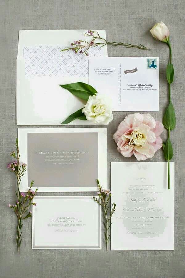Grey and white invitations 40 best Wax