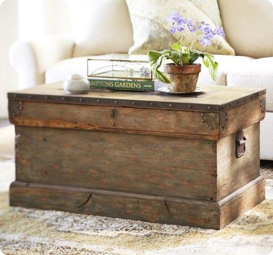 Superior Aqua Painted Trunk Coffee Table