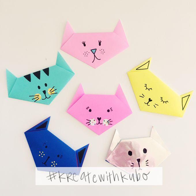 DIY: Easy and cute origami cats | Cute origami, Origami cat, Kids origami