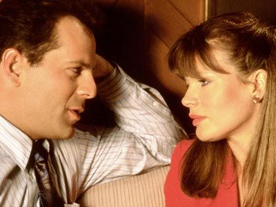 Bruce Willis with Kim Basinger in Blind Date 1987.
