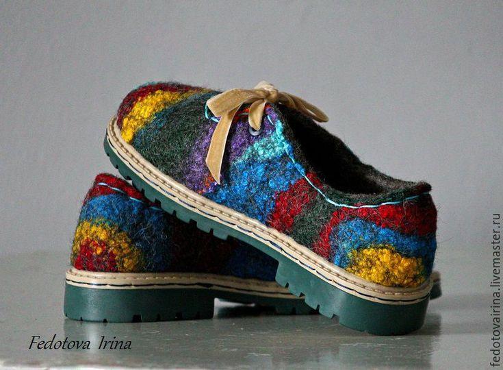"""Купить Туфли валяные """"Цветотерапия-2"""",по мотивам. - комбинированный, цветные туфли, туфли"""