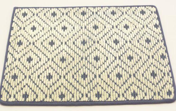 "Wool Door Mat Prestige Mill, Area Rug, 14"" x 18"", David Hicks Coll, Arabesque, Cobalt Blue, 100% Wool on Etsy, $5.00"