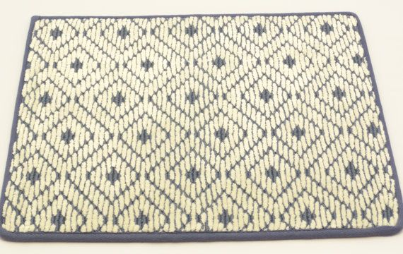 "Wool Door Mat Prestige Mill, Area Rug, 14"" x 18"", David Hicks Coll, Arabesque, Cobalt Blue, 100% Wool on Etsy, $5.00"