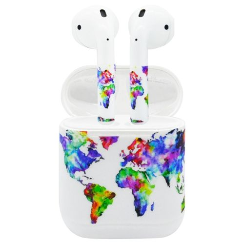 753e2920c25 [$1.61]Airpods Earphones Charging Box PVC World Map Pattern Sticker for  iPhone 7 Earphone