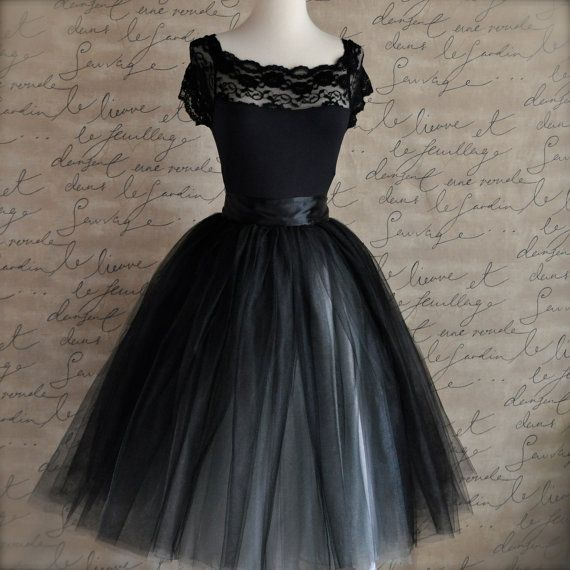 Black and silver tulle tutu skirt for womenA by TutusChicOriginals