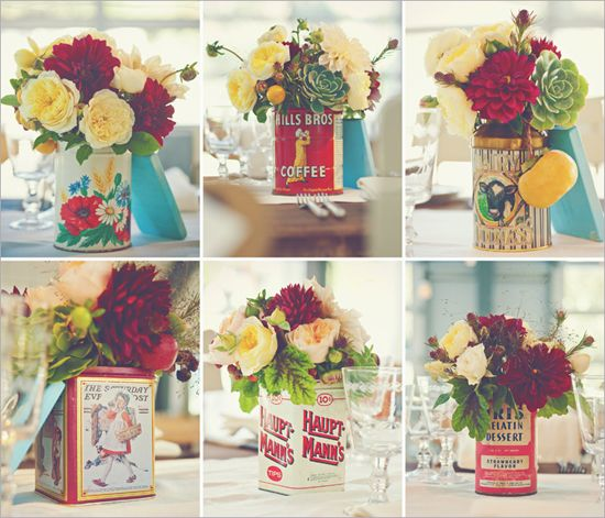 vintage carnival centerpiece | Real Weddings | Chandler + John Vineyard Wedding