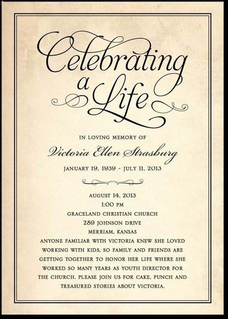 29 best Funeral Reception Invitations images on Pinterest - death announcement templates