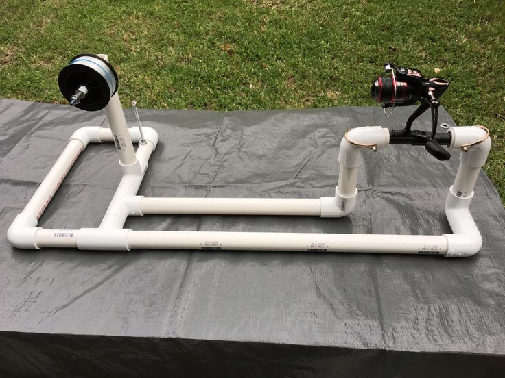 Made my own fishing line winder that can accommodate any type of reel and any size of fishing wire spool out of PVC pipe.