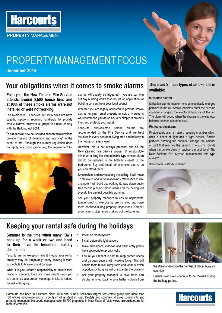 #Property Management Newsletter - November 2014 #Smoke Detectors #Holiday Safety and Security www.harcourts.co.nz
