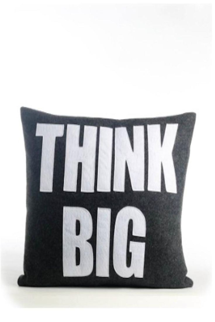 """Black pillow with white writing that reads, """"Think big"""".    Measures: 14"""" x 18"""" (approx)       Think Big Pillow by Alexandra Ferguson. Home & Gifts - Home Decor - Pillows & Throws Westchester County, New York"""