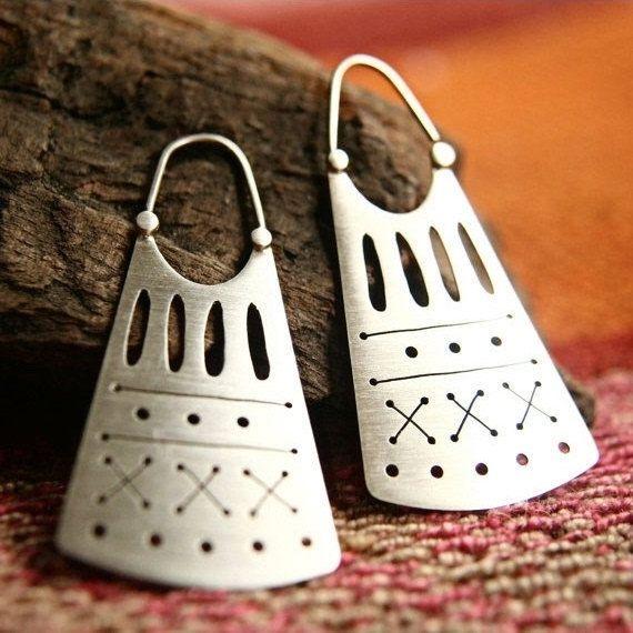 Ethnic Earrings in Sterling Silver  Tribal by indiaylaluna on Etsy