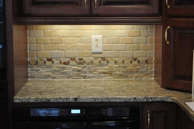 Tumbled Stone Backsplash And New Venetian Gold Granite