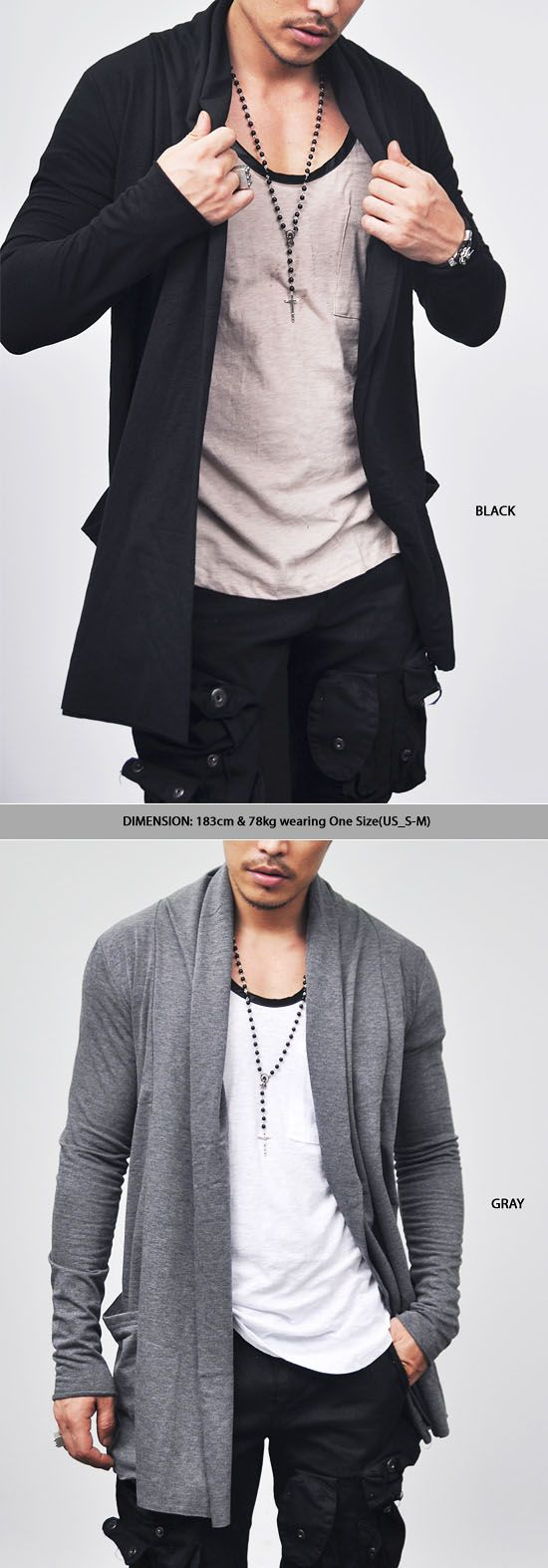 Outerwear :: Cardigans :: Avant-garde Edge Shawl Long-Cardigan 19 - Mens Fashion Clothing For An Attractive Guy Look