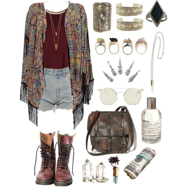 More boho/gypsy outfits by baludna on Polyvore featuring Billabong, River Island, Levi's, Vanessa Mooney, Gypsy, Unearthen, Jules Smith, Le Labo and Dr. Martens