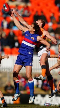 Will Minson of the Bulldogs in action during the 2013 AFL Round 15 match between the GWS Giants and the Western Bulldogs at StarTrack Oval, Canberra on July 06, 2013. (Photo: Sean Garnsworthy/AFL Media)