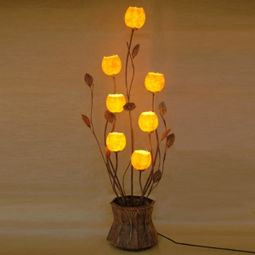 Paper Floor Lamp Shades with Flowerpot Design and Seven Windflower Buds