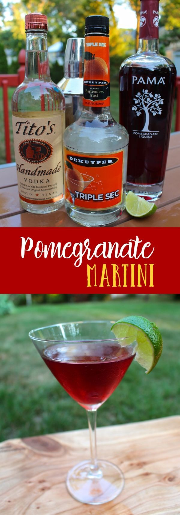 Pomegranate Martini recipe. Perfect cocktail for the Summer and Fall. Stop by for 4 other Summer Sipper recipes.