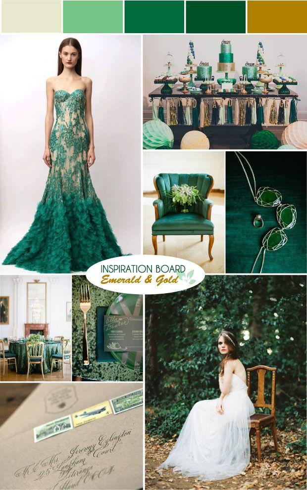 Emerald Green & Gold Wedding Moodboard