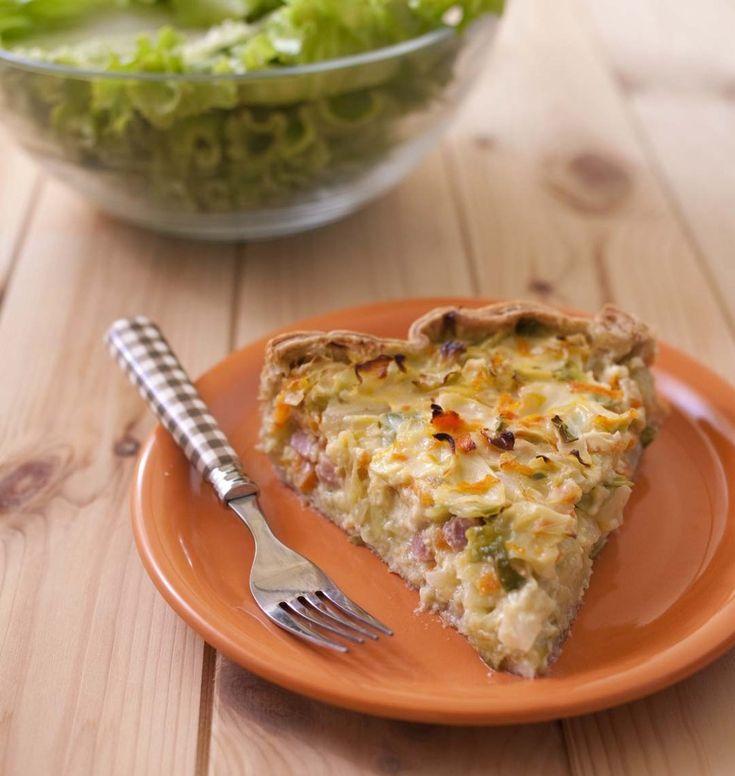 Tarte au chou pointu, carottes et lardons - les meilleures recettes de cuisine d'Ôdélices