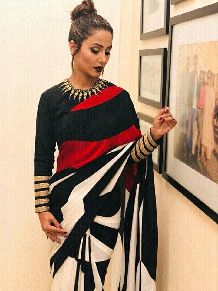 Hina khan HD pic   Indian designer wear, Stylish blouse design, Black and white saree