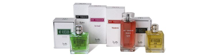 Dzintars perfumery - EdT My Version Modern, Retro for man; EdP My Version Modern, Actual and Retro for woman; www.plumeria.sk