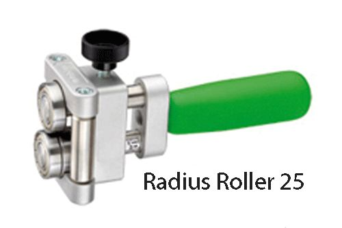 """Freund Radius Roller 25 & 50 tools are for bending & edging curved sheet metal and can produce tight radii (both inner and outer) The handle has been constructed for an optimal power transmission and leverage. The tool features index markings in both cm and inch for easy set up and the bend depth is infinitely adjustable. Radius 25 bending height is 1/4"""" to 1"""". Radius 50 bending height is 1/4"""" to 2"""". Capacity: 22ga steel, 24oz copper, .032"""" Aluminum."""