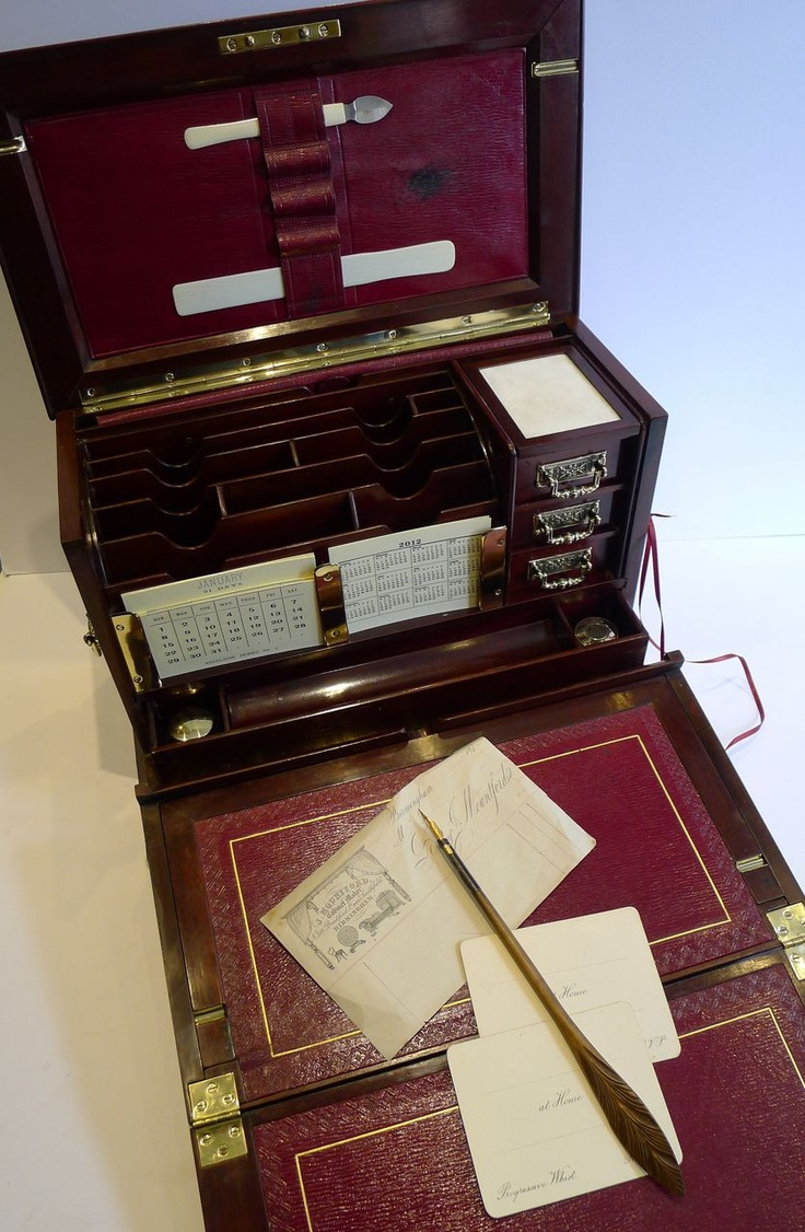 Gasp!  Oh how I would love to have this beautiful Antique Mahogany Writing Box / Stationery Cabinet c.1890