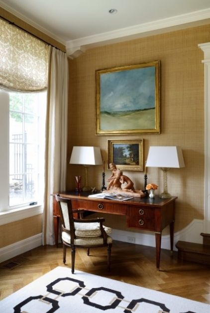 Warm tones, a landscape painting to get lost in, a sensational antique desk, and a comfortable bergère upon which to sit spells office heaven.  Gorgeousness.: Ideas, Romans Shades, Offices Design, Sroka Design, Desks, Window Treatments, Traditional Home Offices, Traditional Homes, Wallpapers Design