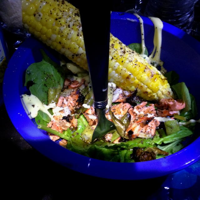 Campfire sired Salmon, fresh spinach salad, lemon thyme with raspberry vinaigrette dressing. Grilled corn on the cob for garnish