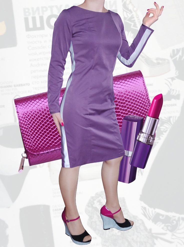 36$ Классическое прямое платье для полных девушек с боковыми полосами в сиренево-розовом цвете Артикул 815,р50-64