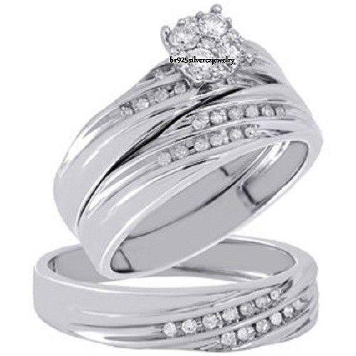 2.36 Ct Diamond Engagement Wedding Bridal Trio Ring Set In 14k White Gold Finish #br925Silverczjewelry #EngagementWeddingAnniversaryPartyDailyWear