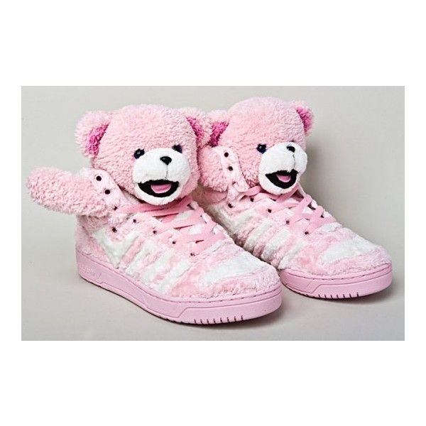 adidas Originals by Originals Jeremy Scott Teddy Bear Sneaker Pink... ❤ liked on Polyvore featuring shoes, sneakers, pink sneakers, teddy bear shoes, pink shoes, pink trainers and teddy bear sneakers