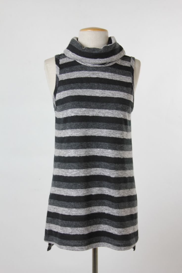 Final Touch Collection - brushed stripe cowl neck top