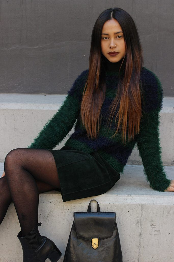 Green With Envy - Faux Fur Jersey And Suede Mini Skirt www.collectic.co.za