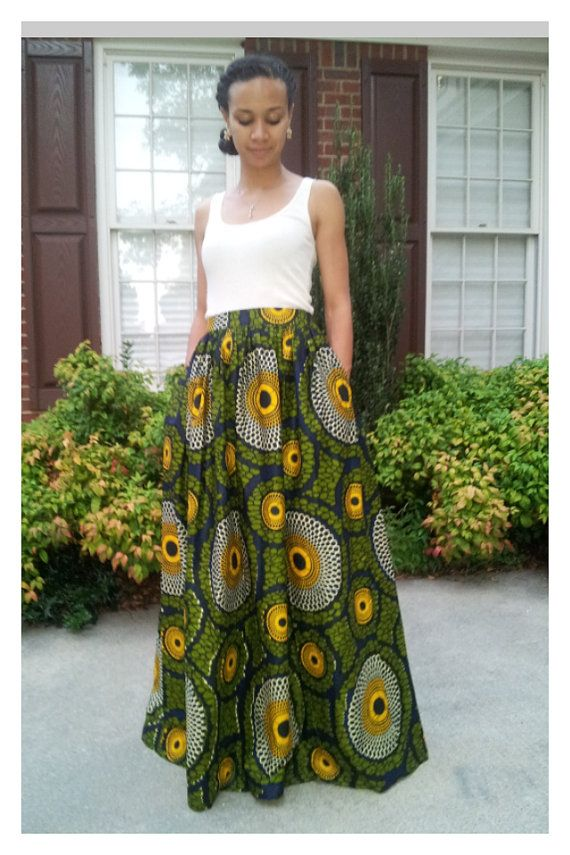 Long Maxi Skirt in African Fabric. Pleated with Pockets.