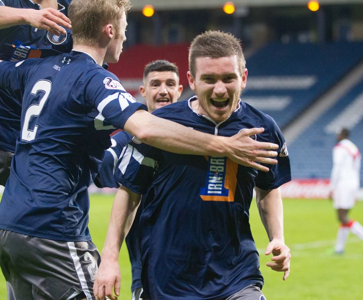 Queen's Park's Gregor Fotheringham celebrates during the Ladbrokes League One game between Queen's Park and Airdrieonians.