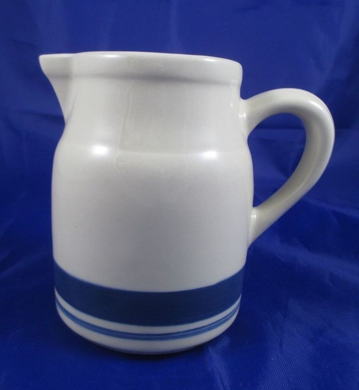 Friendship Pottery Co Roseville Ohio Creamer Small Pitcher Blue Bands EUC #FriendshipPotteryCo