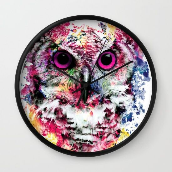 Buy Owl Wall Clock by RIZA PEKER. Worldwide shipping available at Society6.com. Just one of millions of high quality products available.