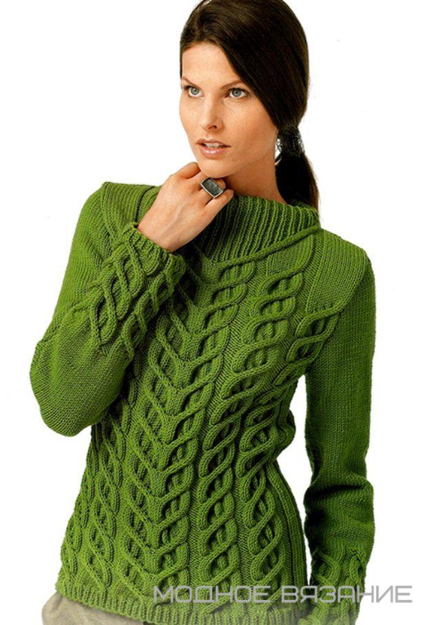 Пуловер оригинальными рельефными жгутами - Модное вязание