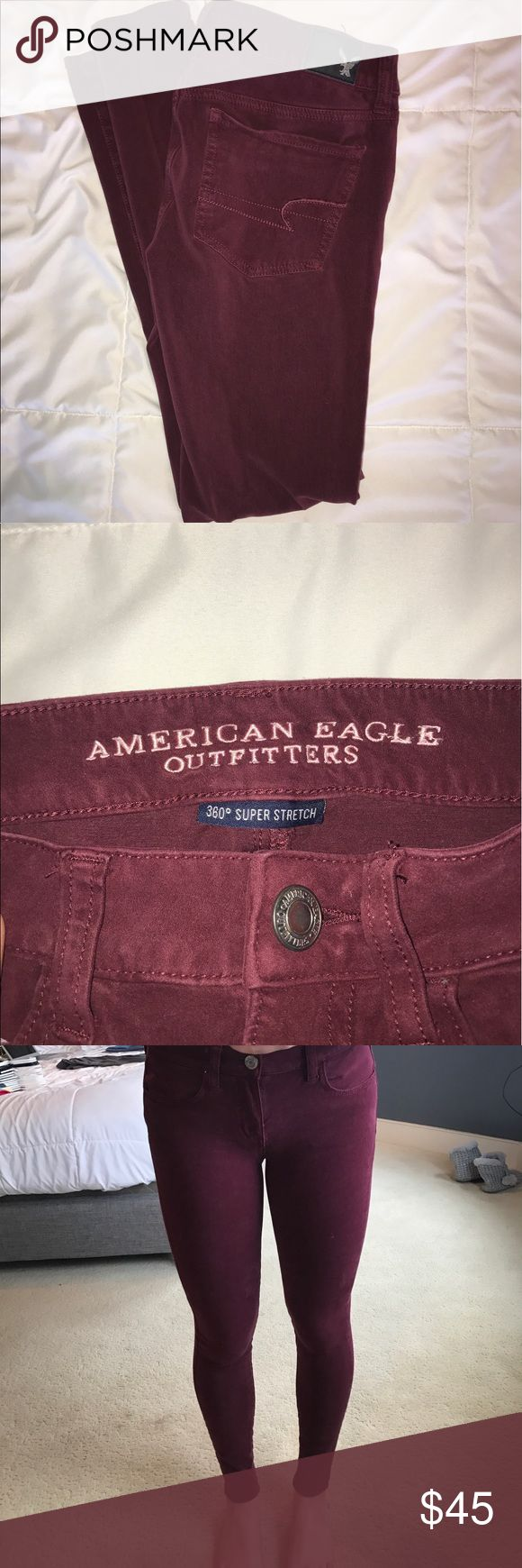 Burgundy/maroon super skinny jeans Very soft super skinny jeans in a maroon/burgundy color from American Eagle Outfitters. In good condition! American Eagle Outfitters Jeans Skinny
