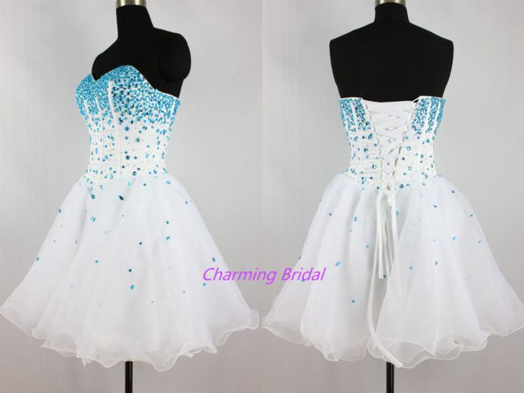 Strapless A Line Blue Crystal White Short Prom Dress Cheap Homecoming Dress 2014 | eBay