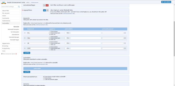 [Image] PSA! Reddit Enhancement Suite is a plugin that will let you hide posts based on keyword (HDR Pro 4K etc.) #Playstation4 #PS4 #Sony #videogames #playstation #gamer #games #gaming