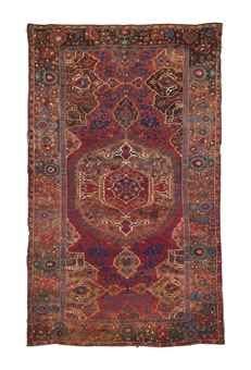 "Christie's, ""large medallion ushak"", 17th C, heavy wear/corrosion, 7'7"" x 12'2"", sold for $44,385 in 2012."
