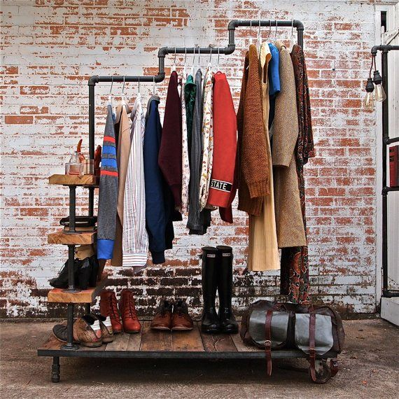 What an awesome home made mudroom rack . This blog has other cool industrial decor ideas- lights, shelves