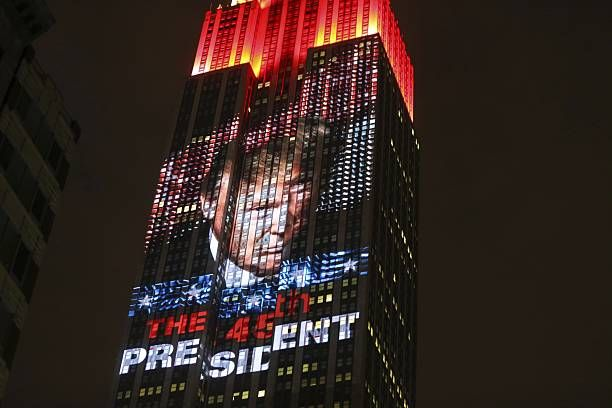 View of US presidential poll votes at the Empire State Building on Manhattan Island on November 09 2016 in New York City Donald Trump defeated...