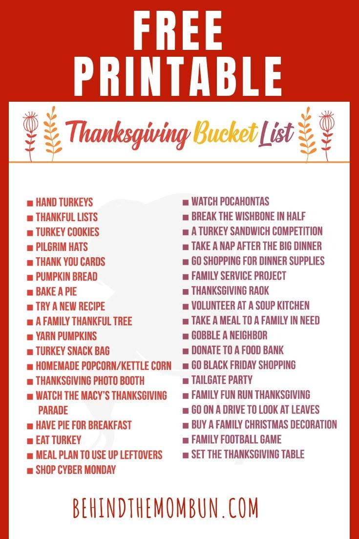 Thanksgiving Bucket List in 2020 Thanksgiving bucket