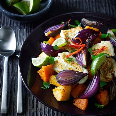 Halloumi Cheese Salad with Sweet Potatoes, Butternut Squash