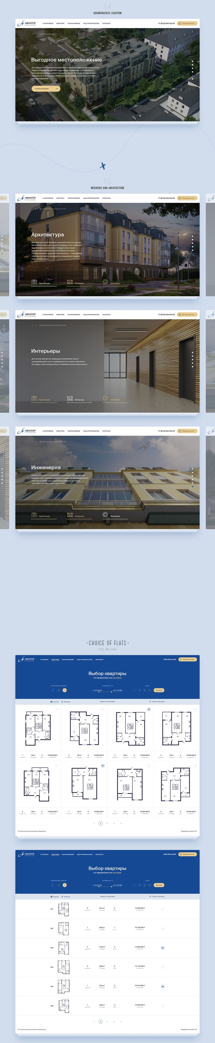 """""""Aviator"""" is business-class house with high ceilings and underground parking. This house is located in true Saint-Petersburg: not far from a riverbank and in the distance of sleeping quarters.Responsive design helps users to choose apartment and explain…"""
